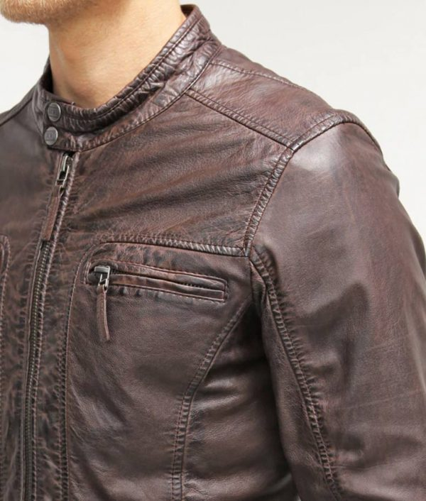 Mens Dark Brown Stand Collar Leather Jacket