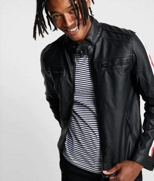 Mens Standing Collar Biker Style Cafe Racer Leather Jacket