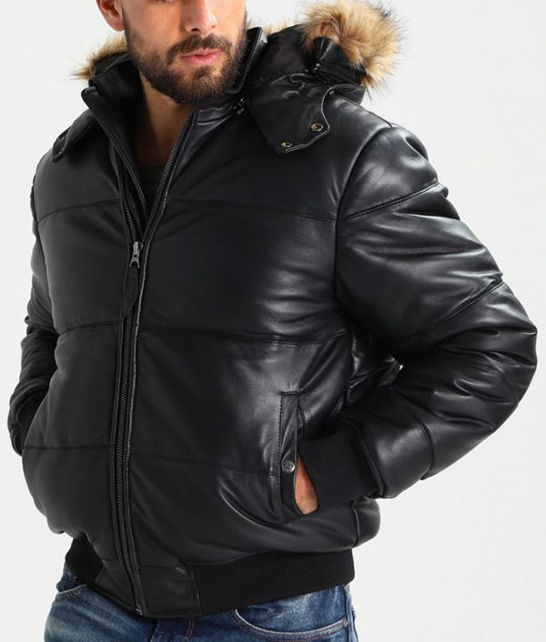 Bernardo Mens Standing Collar Black Bomber Leather Jacket