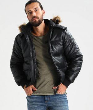 Bernardo Mens Standing Collar Black Puffer Bomber Leather Jacket