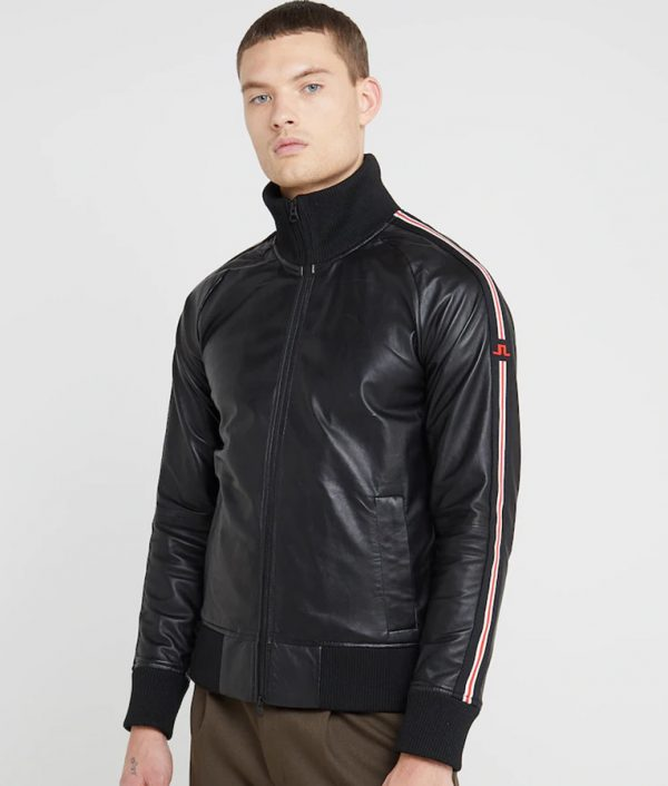 Mens Mandarin Collar Slimfit Black Bomber Leather Jacket