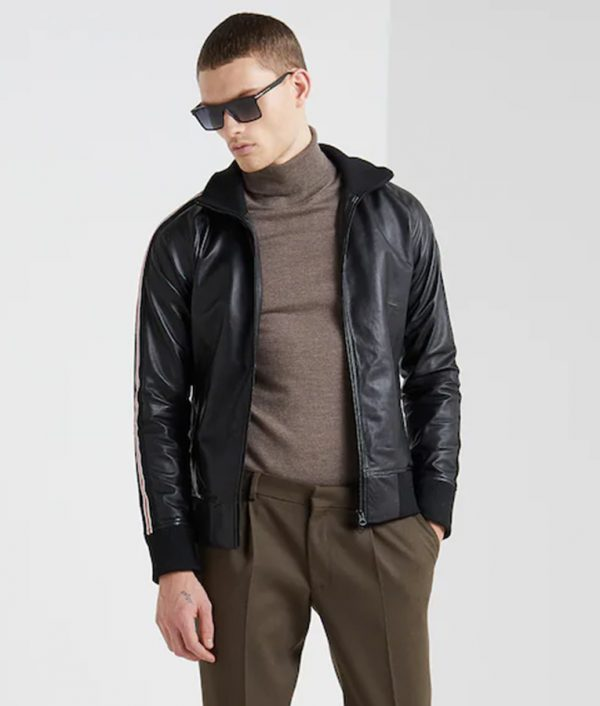 Bonner Mens Mandarin Collar Black Bomber Leather Jacket