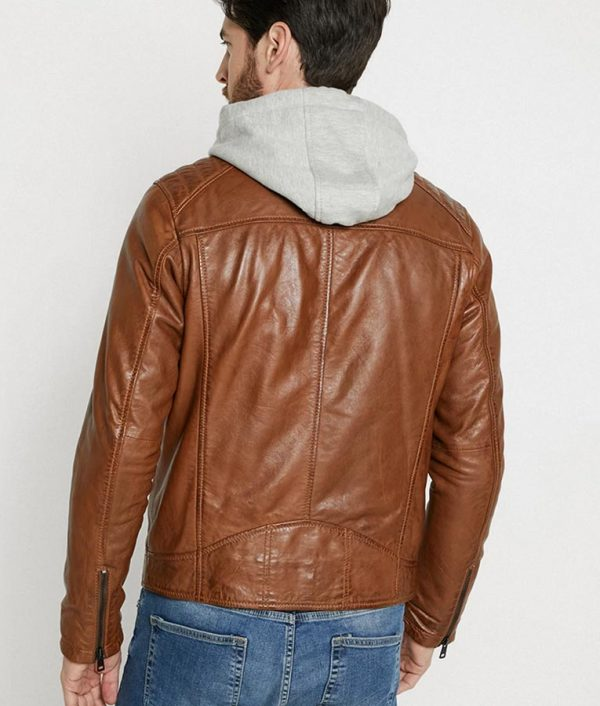 Bright Mens Hooded Collar Brown Cafe Racer Leather Jacket
