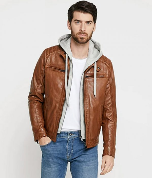 Bright Mens Brown Cafe Racer Leather Jacket