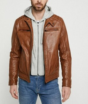 Mens Hooded Collar Brown Cafe Racer Leather Jacket