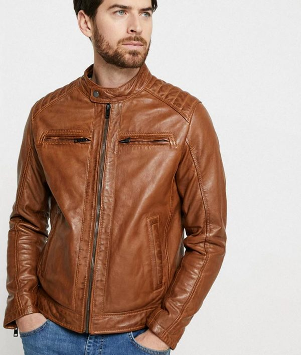 Bright Mens Hooded Collar Brown Cafe Racer Jacket
