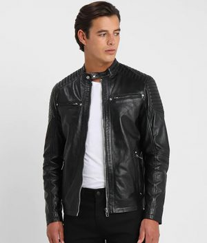 Cambridge Mens Mandarin collar Padded Shoulders Black Leather Jacket