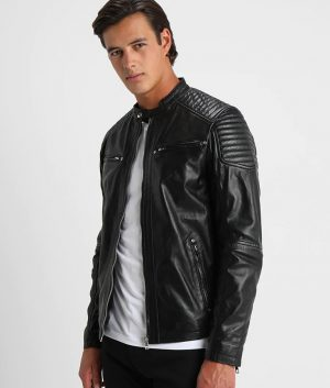 Cambridge Mens Mandarin collar Black Leather Jacket