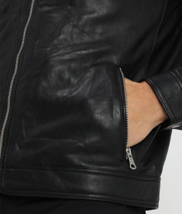 Charles Mens Casual Café Racer Leather Jacket