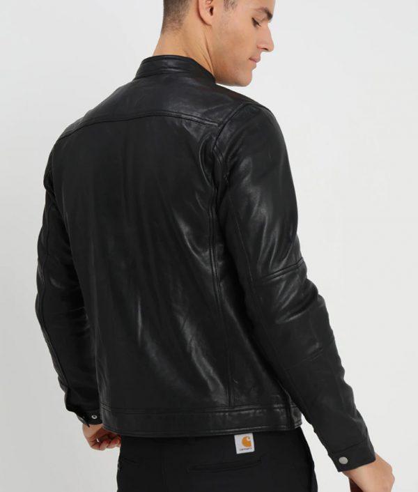 Mens Casual Café Racer Style Black Leather Jacket