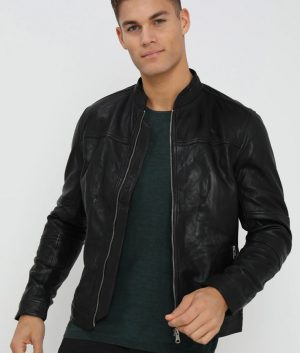 Charles Mens Casual Café Racer Style Black Jacket