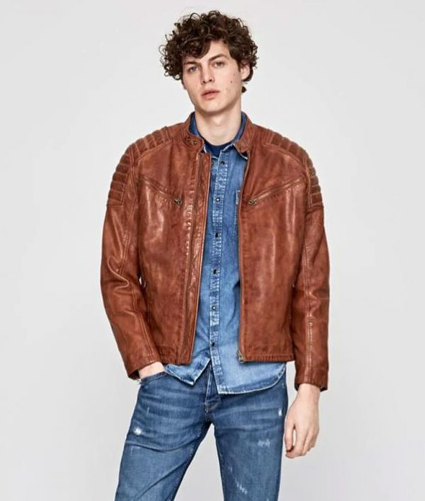 Mens Padded Shoulders Brown Café Racer Leather Jacket