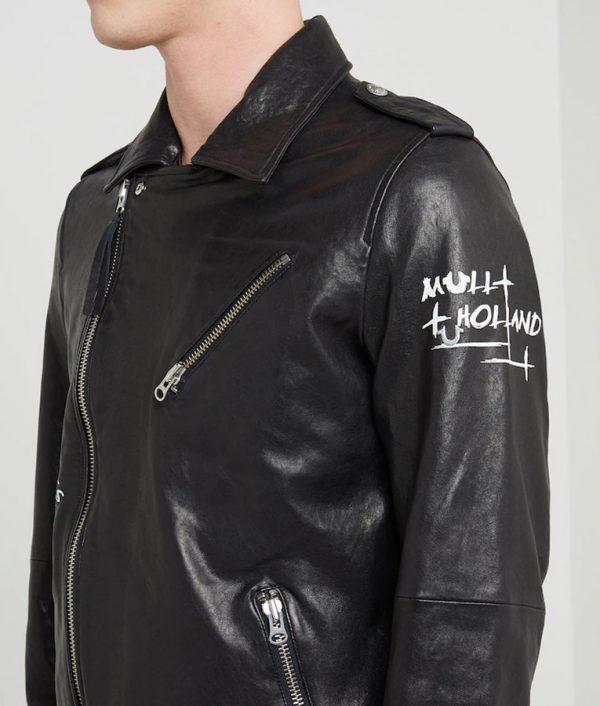 Charlie Mens Lapel Collar Black Leather Jacket