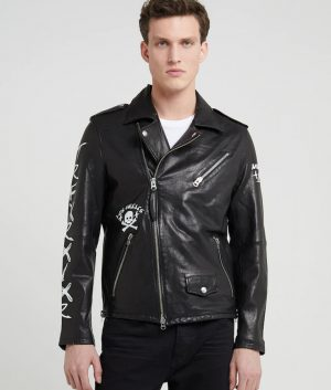 Mens Lapel Collar Black Motorcycle Leather Jacket