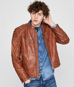 Charlie Mens Brown Café Racer Leather Jacket