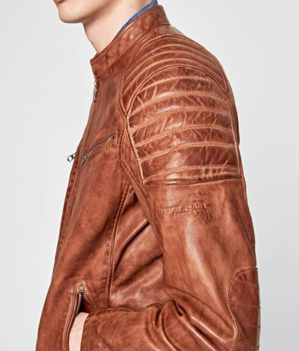 Charlie Mens Padded Shoulders Brown Café Racer Leather Jacket