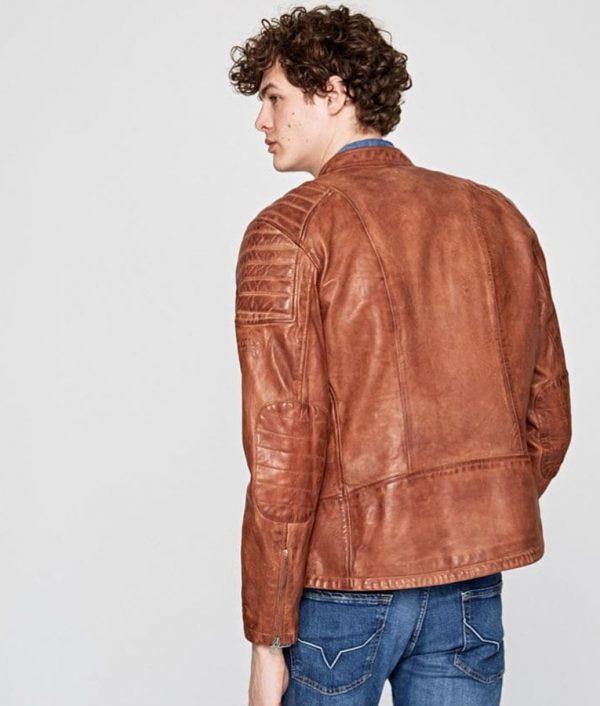 Charlie Mens Padded Shoulders Brown Leather Jacket