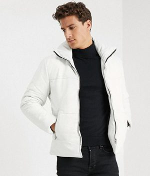 Christopher Mens Casual White Leather Jacket