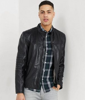 Connelly Mens Mandarin Collar Slimfit Black Café Racer Jacket