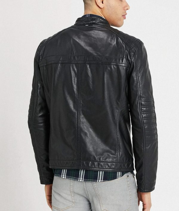 Connelly Mens Mandarin Collar Slimfit Black Café Racer Leather Jacket