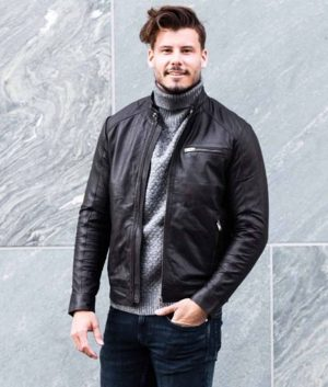 Conybeare Mens Casual Zip Up Style Black Leather Jacket