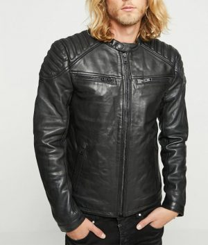 Mens Paddes Shoulder Distressed Black Leather Jacket