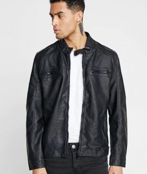 Cortes Mens Casual Slimfit Black Leather Jacket