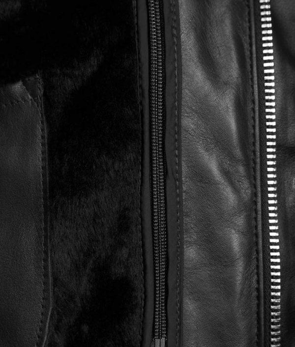 Daniel Mens Lined Collar Slimfit Black Cafe Racer Bomber Leather Jacket