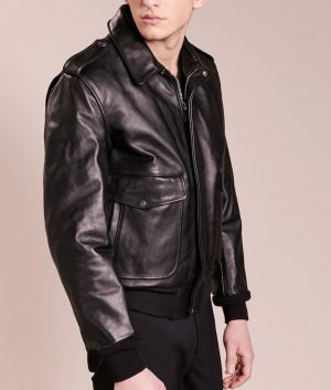 Daniel Mens Lined Collar Slimfit Black Cafe Racer Leather Jacket