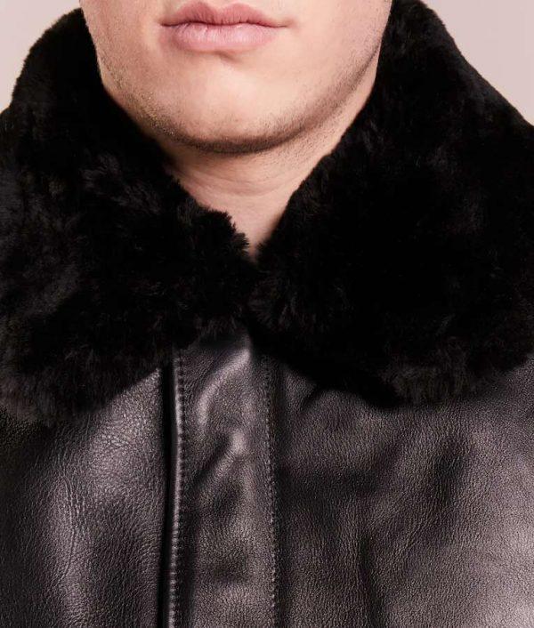 Daniel Mens Lined Collar Black Cafe Racer Bomber Leather Jacket