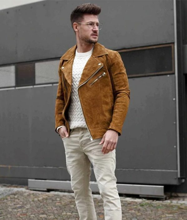 Danilo Mens Shearling Suede Leather Motorcycle Jacket