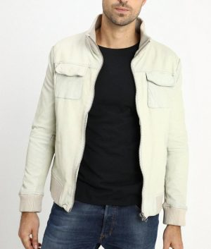 Darin Mens Flat Pockets Bomber Leather Jacket