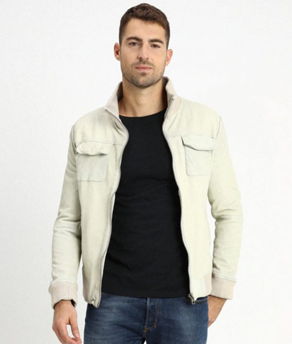 Darin Mens Light Grey Flat Pockets Bomber Leather Jacket