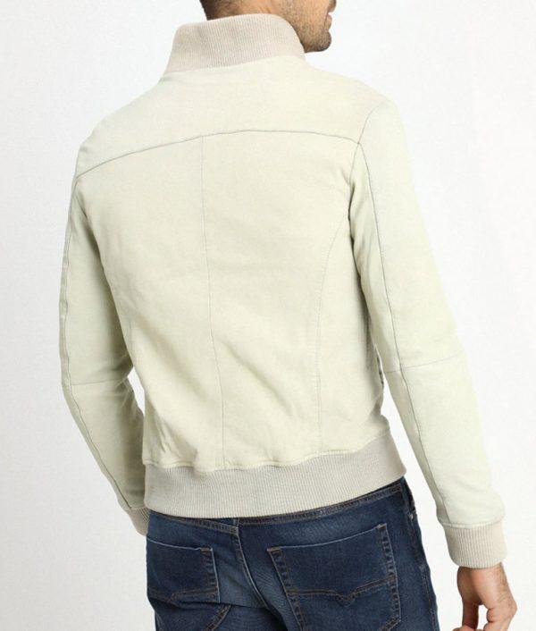 Mens Light Grey Flat Pockets Bomber Leather Jacket