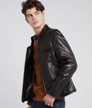 Dawson Mens Café Racer Style Leather Jacket