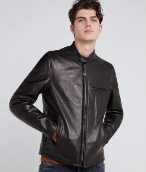 Dawson Mens Mandarin Collar Café Racer Style Jacket