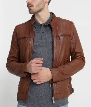 Ellwood Mens Brown Café Racer Leather Jacket