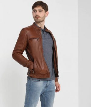 Ellwood Mens Moto Racer Brown Café Racer Leather Jacket