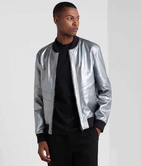 Mens Standing Collar Bomber Café Racer Leather Jacket