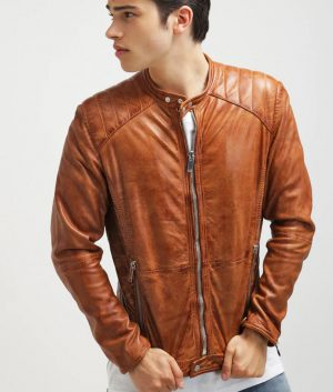 Ethan Mens Standing Collar Leather Padded Shoulder Brown Jacket
