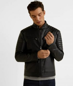 Mens Slimfit Black Café Racer Biker Leather Jacket