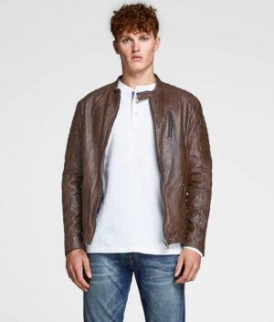 Mens Slimfit Café Racer Style Brown Leather Jacket