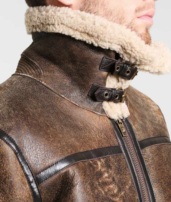 Fancher Mens Turn Down Collar Leather Jacket