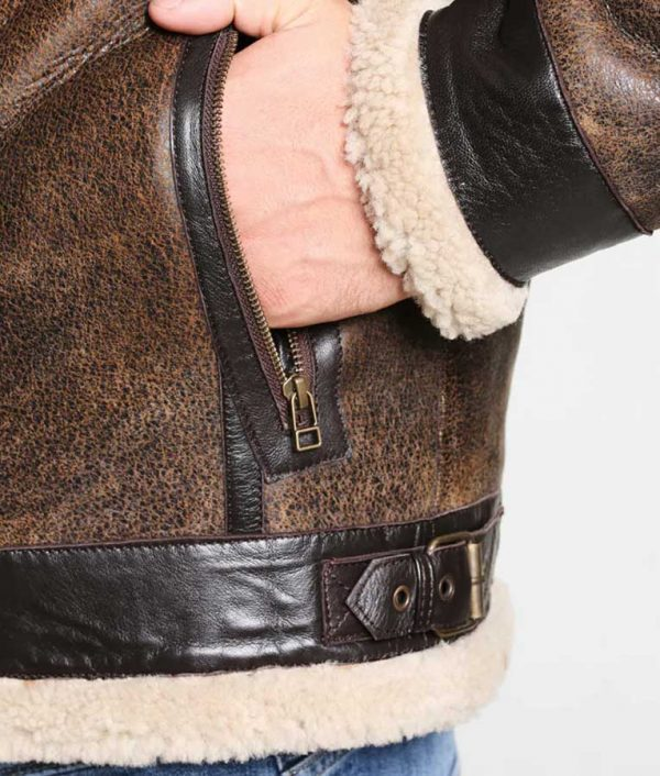 Fancher Mens Collar Shearling Collar Brown Leather Jacket