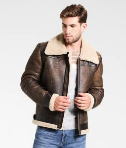 Fancher Mens Turn Down Collar Shearling Collar Jacket