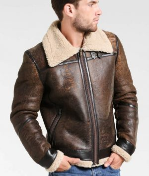Fancher Mens Turn Down Collar Shearling Collar Brown Jacket