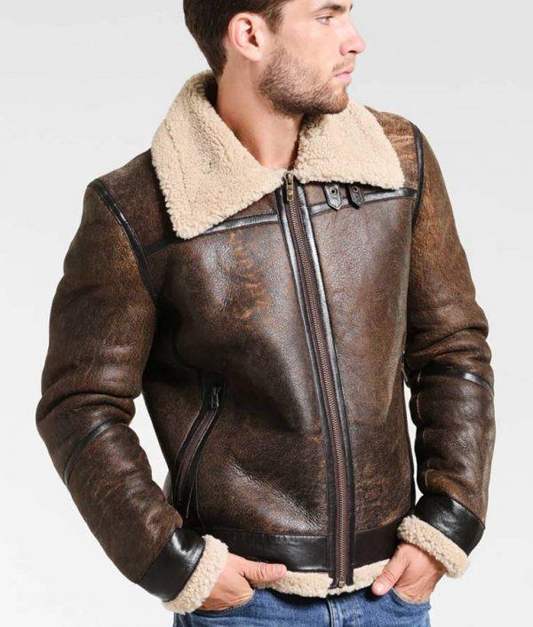 Fancher Mens Turn Down Collar Shearling Collar Brown Jacket