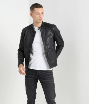 Mens Padded Shoulder Black Leather Jacket