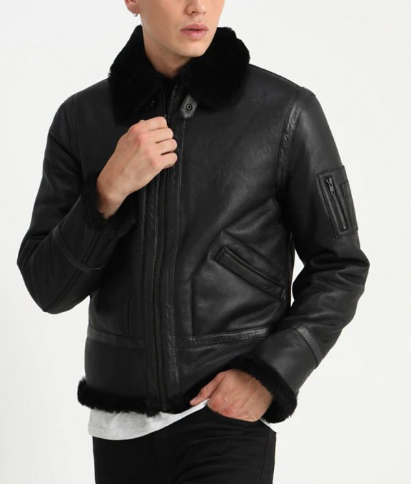 Fleck Mens Turn down Collar Leather Jacket