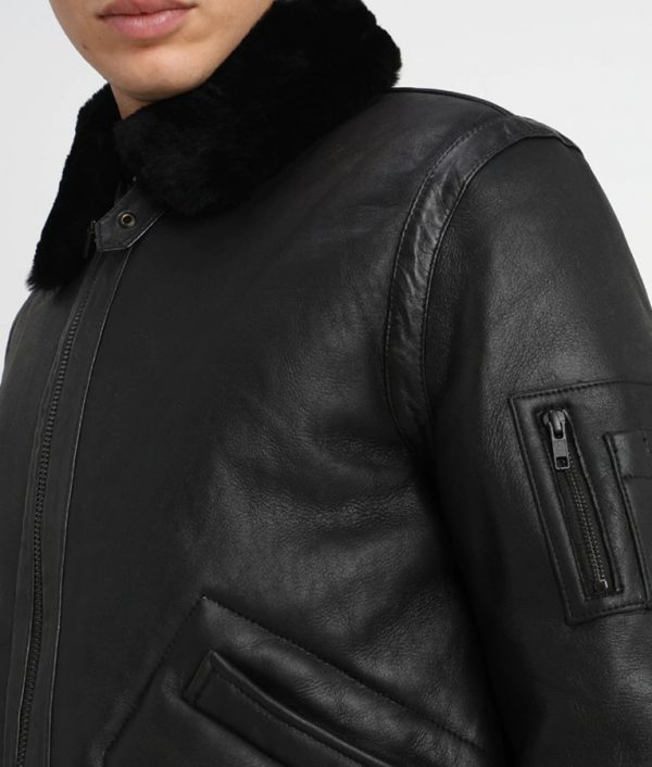 Fleck Mens Turn down Collar Shearling Fur Collar Jacket